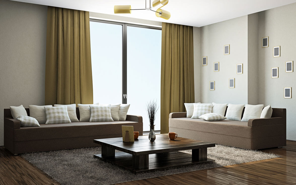 Simple Modern Living Room Design: Sunshine Window & Furnishings